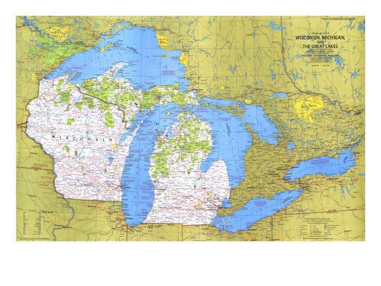 Wisconsin, Michigan, And The Great Lakes Map 1973 Posters at ...