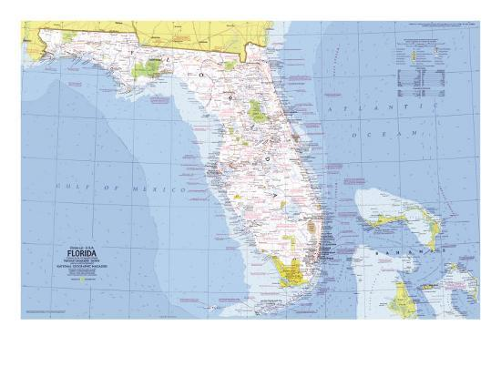 1973 Close Up Usa Florida Map Poster By National Geographic Maps At