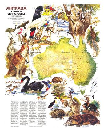 1979 Australia, Land of Living Fossils Map