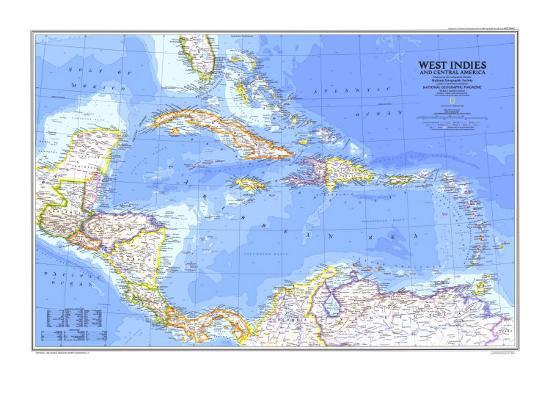1981 West Indies And Central America Map Poster By National