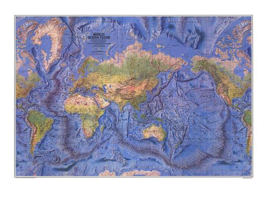 1981 World Ocean Floor Map Print by
