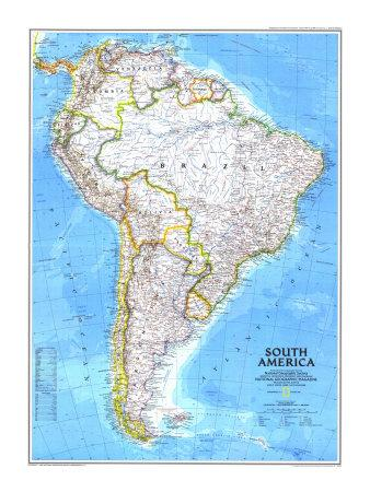 America South America Map.1992 South America Map Poster By National Geographic Maps At