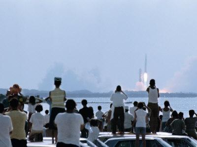 View over the Head of Spectators of the Launch of Nasa's Apollo 11 Space Mission