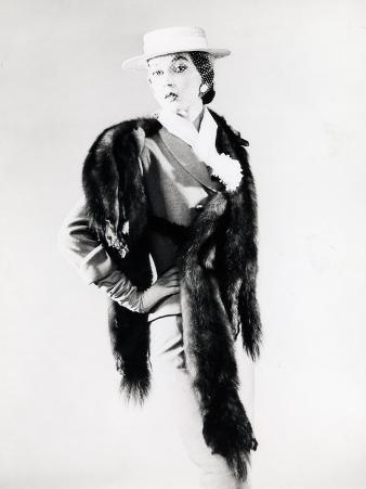 Model Wearing Five-Skin Silver Fox Fur Piece over Suit and Hat W. Face Veil