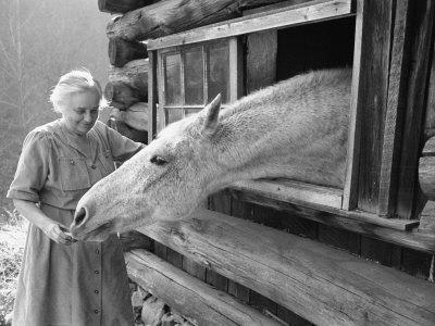 Mrs. Mary Breckenridge Runs the Frontier Nursing Service, Petting Her Horse