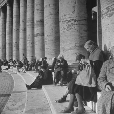 Old Italian Women Knitting While They Socialize in the Colonade of St. Peter's Square, Vatican City