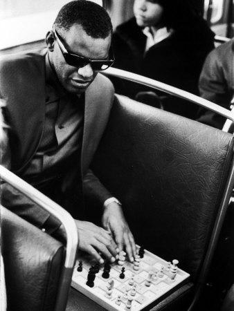 Blind Singer Ray Charles Playing Chess on a Board with Special Niches