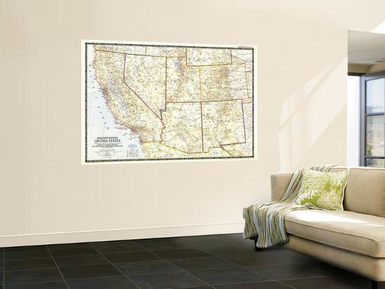 1948 Southwestern United States Map Wall Mural by National ...