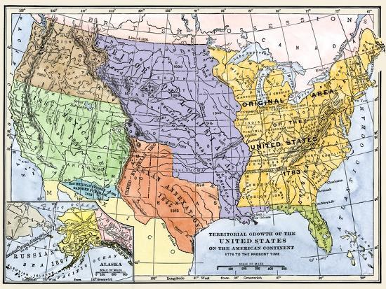 Map Of Usa 1776.Map Showing The Territorial Growth Of The Continental Us 1776 To