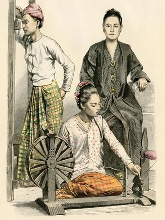 Burmese Woman Spinning, Another at a Loom, and a Woman from Ava, Former Capital of Burma