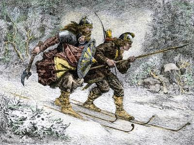 Birchlegs Carrying Prince Hakon Hakonson to Safety over the Mountains, a Norwegian Legend