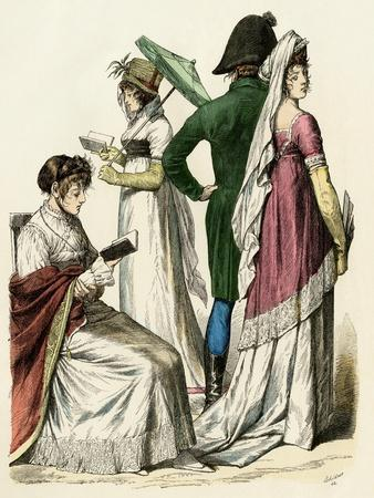 European Ladies Reading and a Couple Walking During the Early French Empire Period, 1802 to 1804