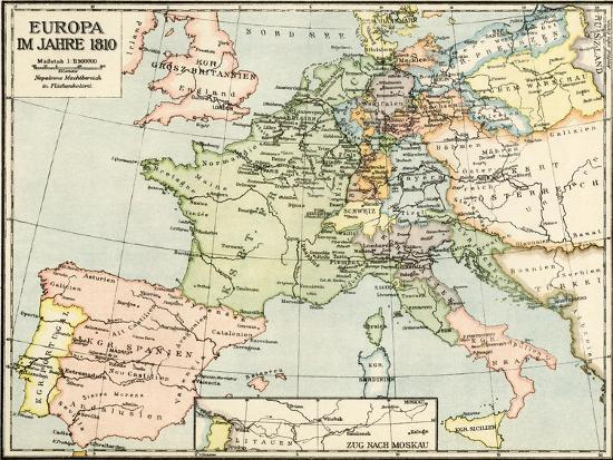 Map Of Europe In 1810 During The Napoleonic Wars Giclee Print At
