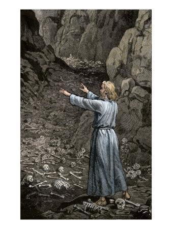 Hebrew Prophet Ezekiel Walking Through the Valley of Dry Bones