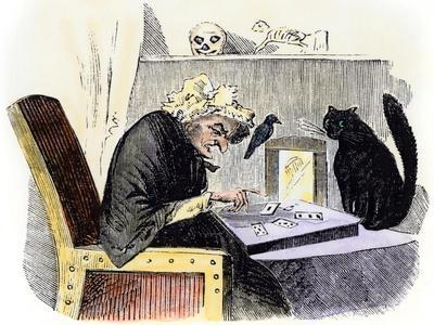 Witch Casting a Spell Accompanied by a Raven and a Black Cat