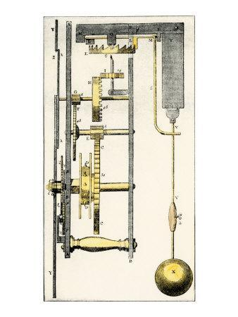Side View of Huygens's Clock, Showing the Pendulum Mechanism, 1600s