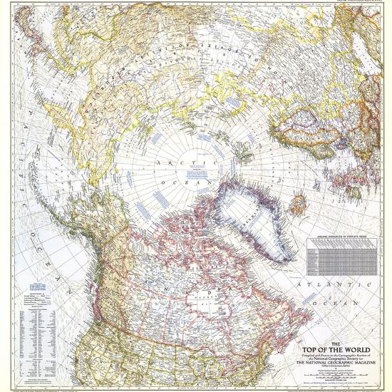 National Geographic World Map Murals.1949 Top Of The World Map Wall Mural By National Geographic Maps At