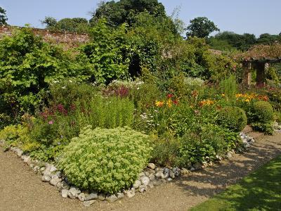 Large Garden Border Planted with Perennials and Shrubs, Gunthorpe Hall, Norfolk, UK