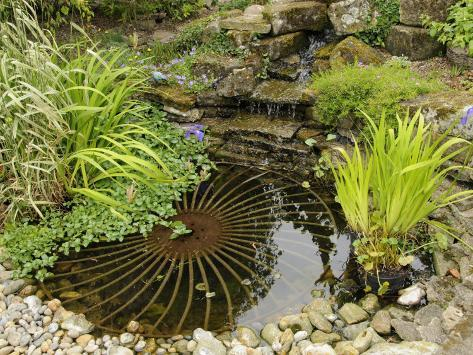 Delicieux Small Garden Pond With Rustic Wheel Feature And Waterfall, Norfolk, ...