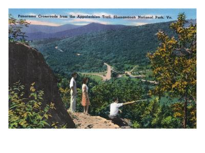 Shenandoah Nat'l Park, Va - Panoramic Aerial View of Crossroads from Appalachian Trail, c.1956