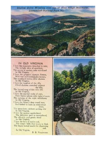 "Shenandoah Nat'l Park, Va - Aerial View of Skyline Drive, Tunnel, ""In Old Virginia"" Poem, c.1956"