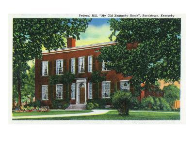 """Bardstown, Kentucky - Exterior View of """"My Old Kentucky Home"""" on Federal Hill, c.1939"""