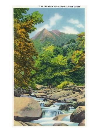 Great Smoky Mts. Nat'l Park, Tn - View of the Le Conte Creek and the Chimney Tops, c.1946