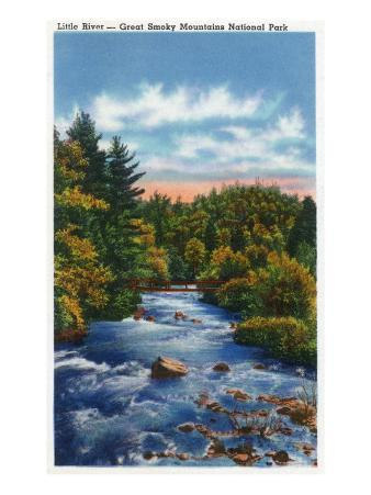 Great Smoky Mts. Nat'l Park, Tn - Scenic View of Little River, c.1946