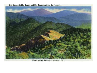 Great Smoky Mts. Nat'l Park, Tn - Jumpoff View of the Sawteeth, Mt. Guyot and Chapman, c.1941