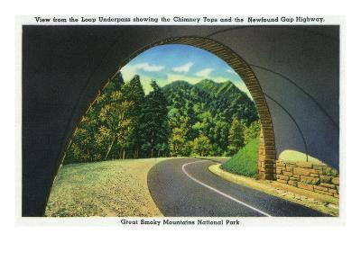 Great Smoky Mts. Nat'l Park, Tn - View from the Loop Underpass of the Chimney Tops, c.1941