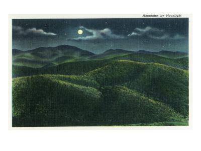 Great Smoky Mts. Nat'l Park, Tn - View of the Mountains in the Moonlight, c.1940