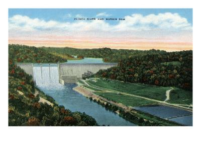 Norris, Tennessee - General View of the Clinch River and Norris Dam, c.1944