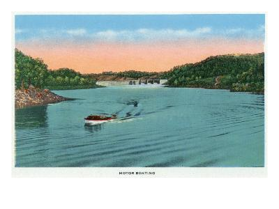 Norris, Tennessee - View of a Motorboat on Lake Norris, c.1944