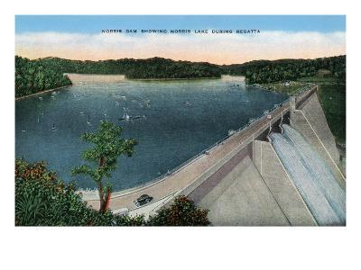 Norris, Tennessee - View of Norris Dam and Norris Lake During a Regatta, c.1944