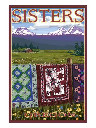 Sisters, Oregon View with Quilts on Fence, c.2009
