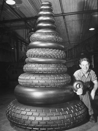 Conical Stack of Aircraft Landing Wheels