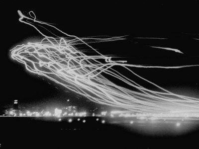 The Pattern Made by Landing Lights of Planes in 20 Minute Time Exposure at La Guardia Airport