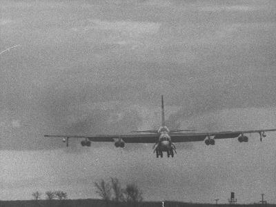 B-52 Bomber in Flight During Strategic Air Command Training Alert at Loring Air Force Base