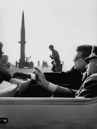 Pres. John F. Kennedy W. Gen. Paul Adams, During Tour of a Pershing Missile at Fort Bragg