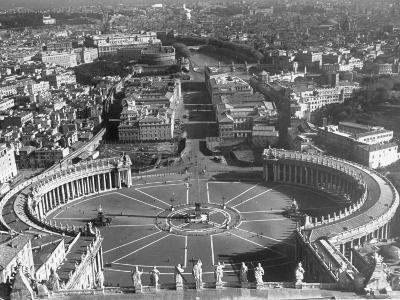 Panaromic View of Rome from Atop St. Peter's Basilica Looking Down on St. Peter's Square