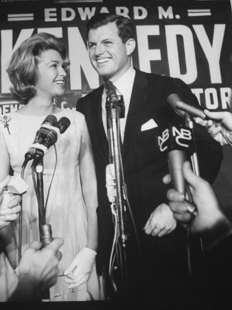 Edward M. Kennedy and Wife During Campaign for Election in Senate Primary