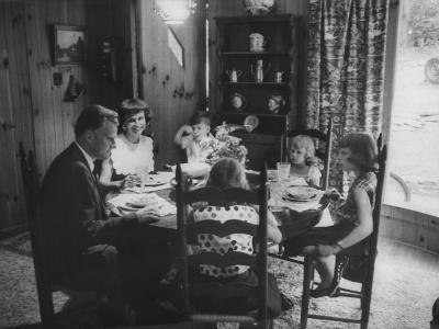 Billy Graham with His Four Children and Wife, Sitting Down for a Family Supper at Home