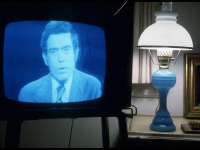 TV Image of Cbs Newscaster Dan Rather Giving Analysis of Pres. Nixon's Resignation Speech