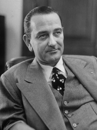Senator Lyndon B. Johnson Sitting in His New Office