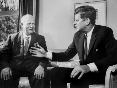 Soviet Premier Nikita Khrushchev Talking W. Pres. Kennedy During Vienna Summit