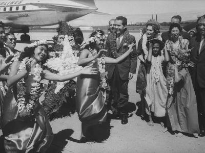 Vice President Richard M. Nixon and Wife Arriving at Airport During Campaining
