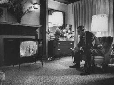 Lyndon B. Johnson Watching Television During the Democratic National Convention