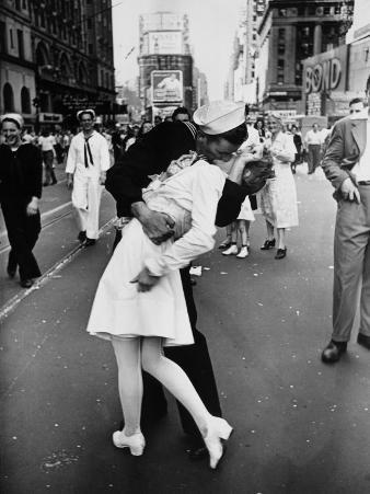 American Sailor Clutching a White-Uniformed Nurse in a Passionate Kiss in Times Square