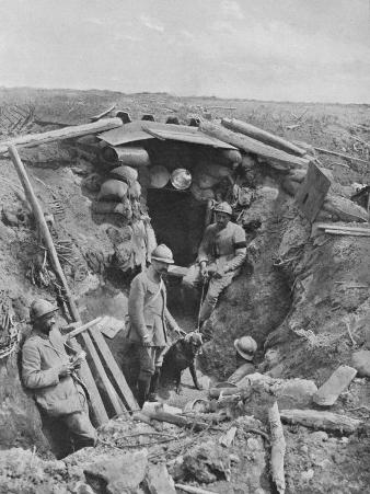 French Soldiers Standing Outside their Trench During World War I