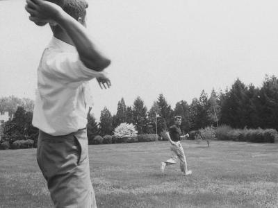 Robert F. Kennedy in Informal Shot Outside W. Brother Senator John F. Kennedy Playing Football